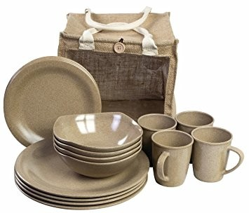 Picknick-Set recyclebar 16-tlg. natural beige